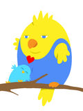 Due uccelli del fumetto nell'amore Fotografie Stock Libere da Diritti