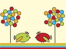 Due uccelli nel giardino illustrazione vettoriale