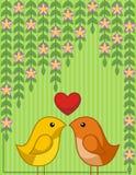 Due uccelli nell'amore royalty illustrazione gratis