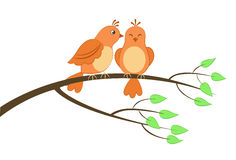 Due uccelli su un albero Immagine Stock Libera da Diritti