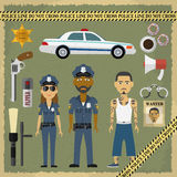 Due ufficiali di polizia, uomo e donna e criminale Immagini Stock Libere da Diritti