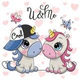 Due unicorni del fumetto su un fondo dei cuori illustrazione di stock