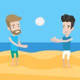Due uomini che giocano beach volley Immagine Stock Libera da Diritti