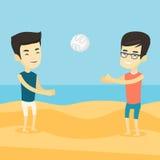 Due uomini che giocano beach volley Fotografia Stock Libera da Diritti