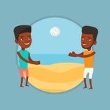 Due uomini che giocano beach volley Fotografie Stock Libere da Diritti