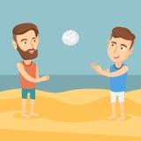 Due uomini che giocano beach volley Fotografia Stock
