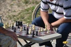 Due uomini che giocano scacchi alla spiaggia in spiaggia di Venezia, CA Fotografie Stock