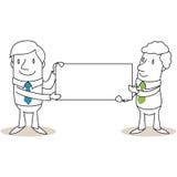 Due uomini d'affari che tengono segno in bianco royalty illustrazione gratis