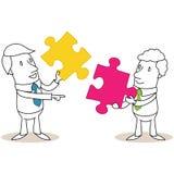 Due uomini d'affari che un due pezzi del puzzle illustrazione vettoriale