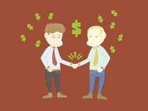 Due uomini d'affari del fumetto stringono le mani come segno della a Immagini Stock Libere da Diritti