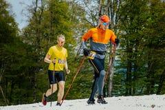 Due uomini dei corridori che eseguono traccia nevosa con i pali di trekking Fotografia Stock