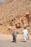 Due uomini e camminate arabi del cammello Fotografia Stock Libera da Diritti