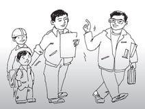 Due uomini e due bambini royalty illustrazione gratis