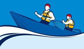 Due uomini in una barca Illustrazione di Stock