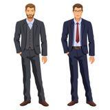 Due uomini Uomo in vestito di affari Giovane uomo d'affari elegante del fumetto illustrazione di stock