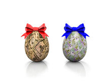 Due uova di Pasqua con gli archi 3d del regalo rendono Fotografie Stock