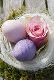 Due uova di Pasqua in pastello con il colore rosa sono aumentato Immagini Stock
