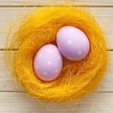 Due uova di Pasqua rosa Fotografia Stock Libera da Diritti