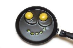 Due uova su una vaschetta di frittura con un sorriso Immagini Stock Libere da Diritti