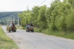 Due vagoni trainati da cavalli sulla strada in Romania Immagine Stock Libera da Diritti
