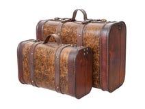 Due valigie dell'annata isolate su bianco Fotografia Stock Libera da Diritti