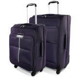 Due valigie di viaggio su un fondo bianco. Fotografia Stock