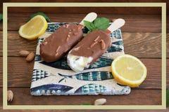 Due vaniglia ed il gelato del cioccolato attaccano con il limone e la menta Immagini Stock