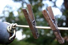 Due vecchi clothespins Fotografia Stock
