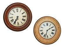 Due vecchi orologi di parete Fotografia Stock
