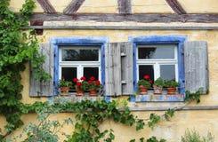 Due vecchie finestre con gli otturatori ed i gerani rossi Fotografie Stock Libere da Diritti