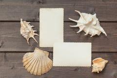 Due vecchie foto e conchiglie in bianco che si trovano sullo scrittorio di legno Immagine Stock