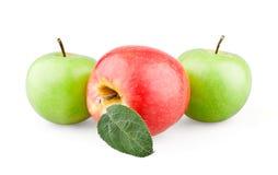 Due verdi e mele rosse con un foglio Fotografie Stock Libere da Diritti