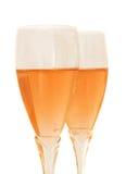 Due vetri con champagne di rosa Immagini Stock