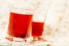 Due vetri dell'acqua del mirtillo rosso Fotografie Stock Libere da Diritti