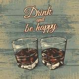 Due vetri dell'illustrazione di vettore dell'alcool illustrazione vettoriale