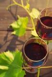 Due vetri delle foglie dell'uva e del vino rosso su una superficie di legno Fotografia Stock