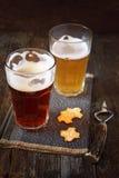 Due vetri di birra, di luce e di buio Fotografia Stock Libera da Diritti