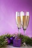 Due vetri di champagne Fotografie Stock