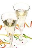 Due vetri di champagne sul notte di San Silvestro Fotografie Stock Libere da Diritti