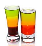 Due vetri di colpo con i cocktail stratificati Fotografia Stock Libera da Diritti