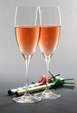 Due vetri di Rosé Champagne Immagini Stock