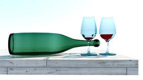 Due vetri di vino e di una bottiglia Fotografia Stock