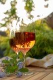 Due vetri di vino rosato freddi sono servito sul terrazzo all'aperto in giardino w Fotografia Stock Libera da Diritti