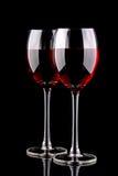 Due vetri di vino rosso Immagini Stock Libere da Diritti