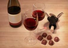 Due vetri di vino rosso fotografia stock libera da diritti