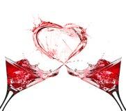 Due vetri di vino rosso A Fotografie Stock