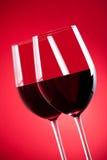 Due vetri di vino rosso Immagine Stock Libera da Diritti