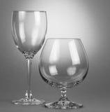Due vetri di vino vuoti Fotografie Stock Libere da Diritti