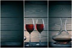 Due vetri e decantatori del vino rosso su fondo scuro Immagini Stock Libere da Diritti