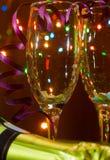Due vetri per champagne. Immagini Stock